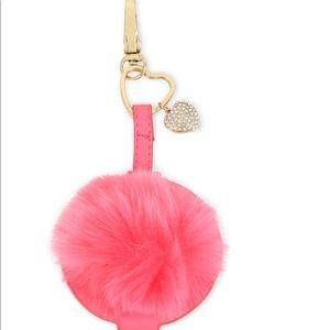 Betsey Johnson Heart Pink Pom Pom Keychain